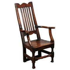Petite Oak Arm Chair with Turned Stretcher, England, 18th Century