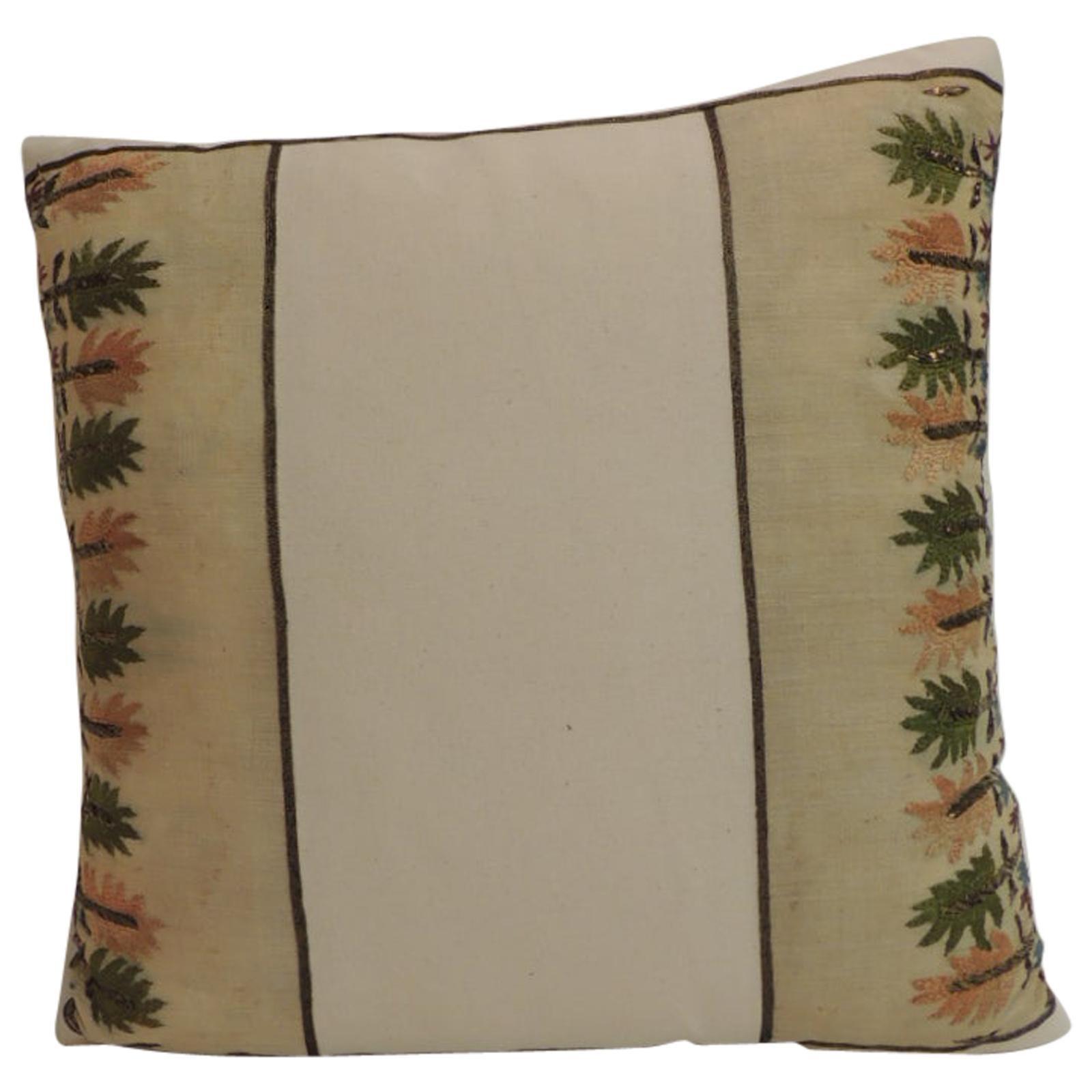 Petite Orange and Green Embroidered Linen Square Decorative Pillow