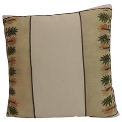 Petite Orange and Green Embroidered Linen Square Decorative Pillow