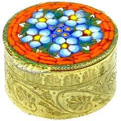 Petite Ormolu Micro Mosaic Pill Box Millefiori Venice Italy, Vintage