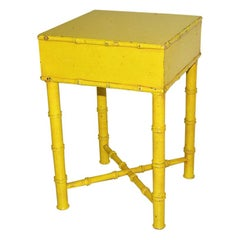 Petite Painted Faux Bamboo Occasional Table