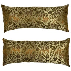 Petite Pair of Silk Chinese Accent Pillows