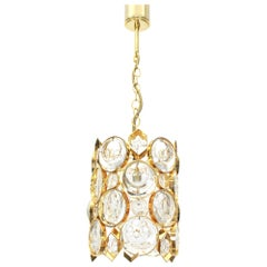 Petite Palwa Pendant, Gilt Brass and Crystal Glass, Germany, 1970s