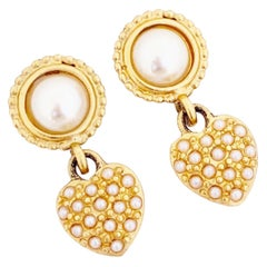 Petite Pearl Heart Dangle Earrings By Leslie Block, 1980s