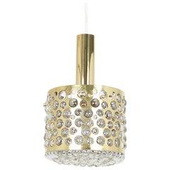 Petite Pendant Light with Aged Brass Glass by Rupert Nikoll, Austria, 1960s