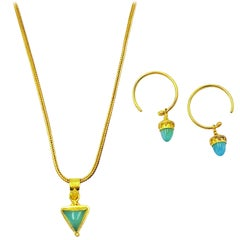 Petite Peruvian Blue Opal 22k Gold Pendant Necklace and Dangle Hoop Earring Set
