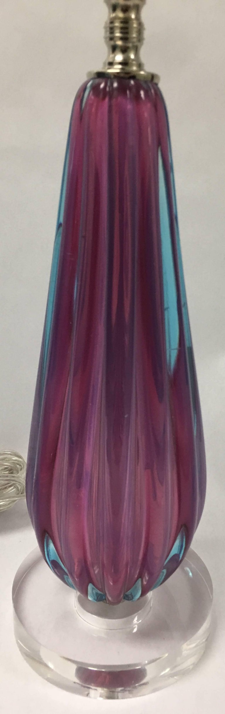 Hollywood Regency Pink and Blue Murano Glass Table Lamp For Sale