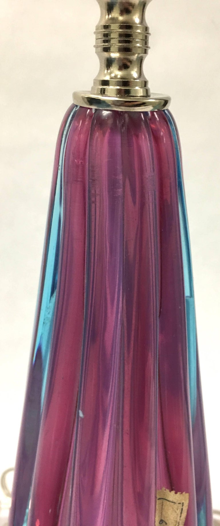 Blown Glass Pink and Blue Murano Glass Table Lamp For Sale