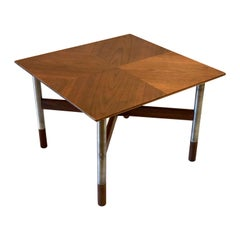 Petite & Rare Teak Cocktail Square Table with Stainless Steel Legs and Wood Tips