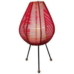 Petite Red Midcentury Woven Shade & Iron Tripod Table Lamp, 1950s, Italy