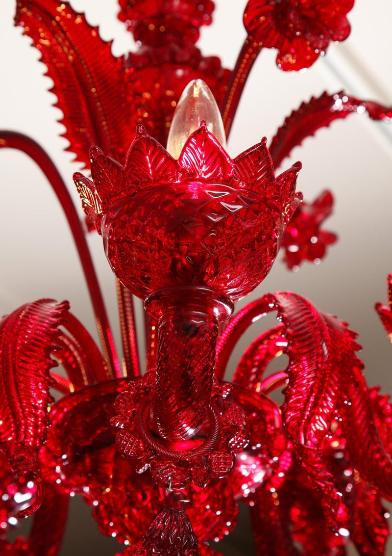 Petite Red Murano Floral Chandelier For Sale 4