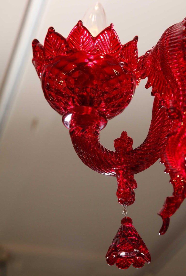 Petite Red Murano Floral Chandelier For Sale 6