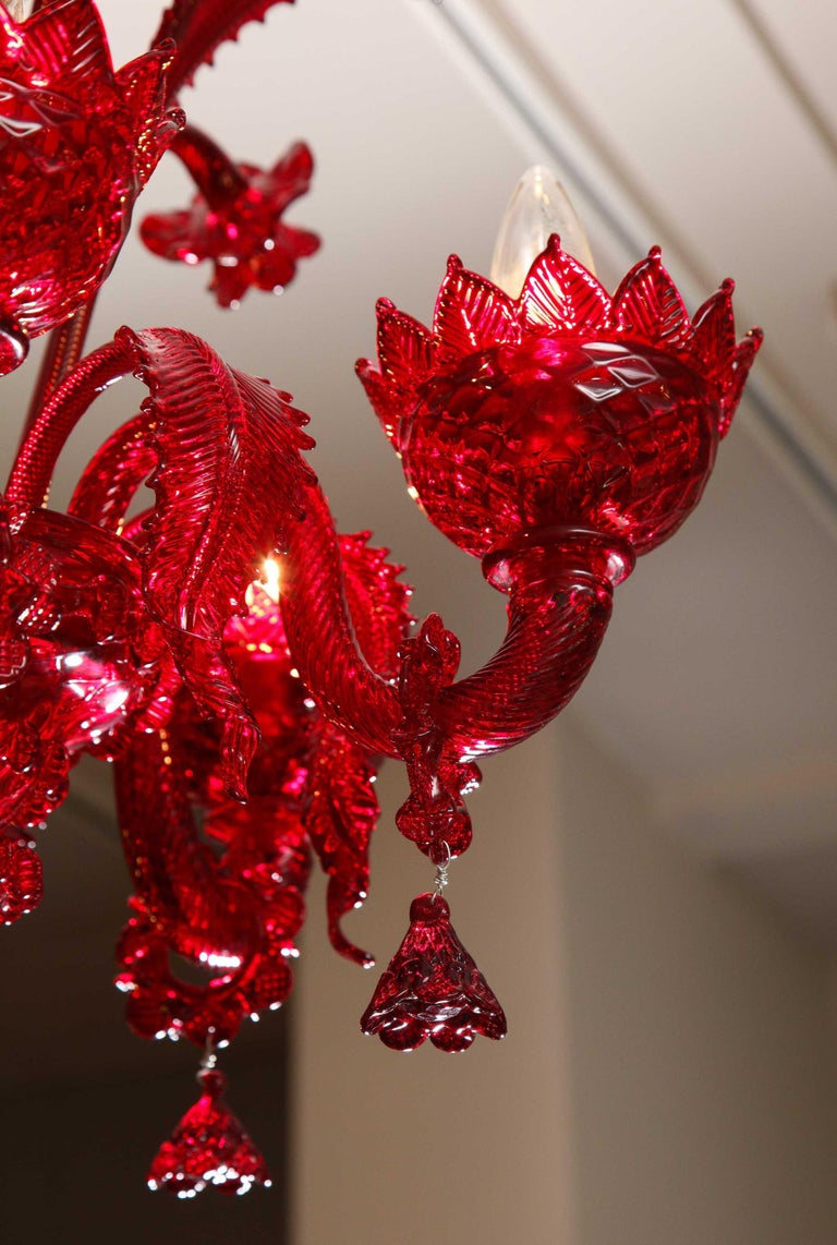 Petite Red Murano Floral Chandelier For Sale 7