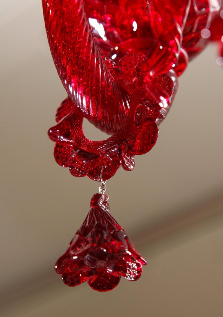Petite Red Murano Floral Chandelier For Sale 8