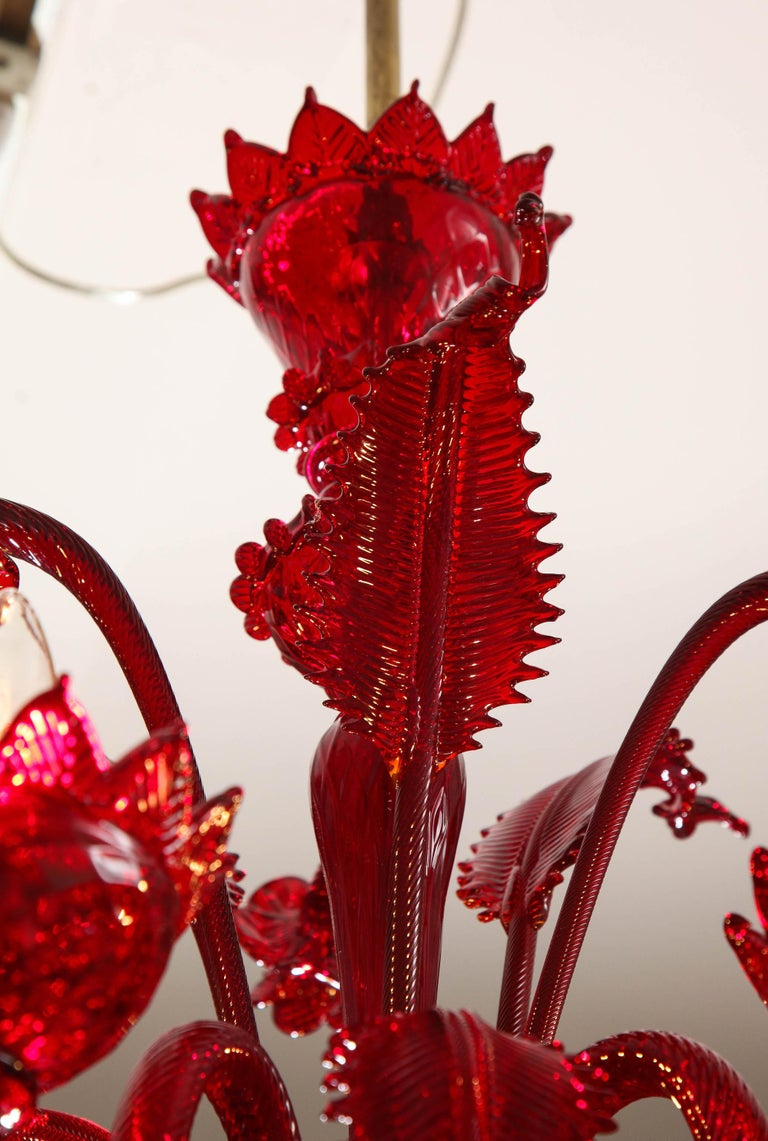 Petite Red Murano Floral Chandelier For Sale 10