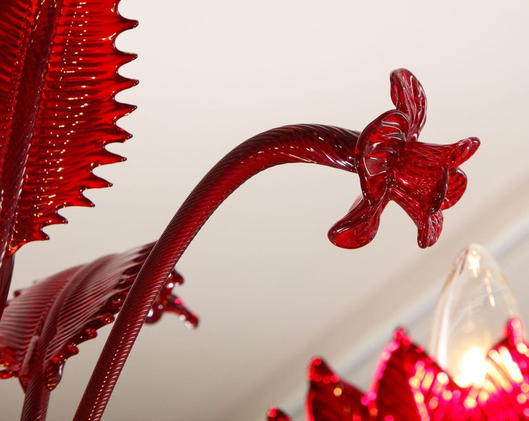 Petite Red Murano Floral Chandelier For Sale 11