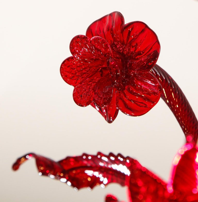 Petite Red Murano Floral Chandelier For Sale 12