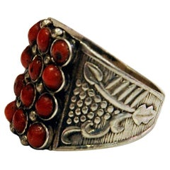 Petite Red Stone Decorated Silvering, 1940s