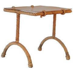 Petite Rope Square Side or Sofa Table by Audoux & Minnet, France, 1960s