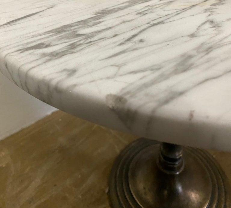 Petite Round Marble Top Pedestal Table In Good Condition For Sale In Great Barrington, MA