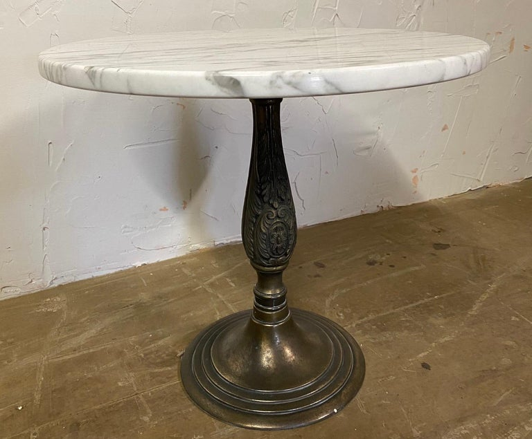 20th Century Petite Round Marble Top Pedestal Table For Sale