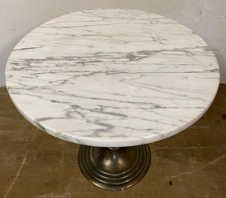 Metal Petite Round Marble Top Pedestal Table For Sale
