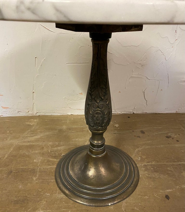 Petite Round Marble Top Pedestal Table For Sale 1