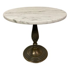 Petite Round Marble Top Pedestal Table