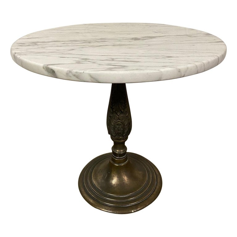 Petite Round Marble Top Pedestal Table For Sale