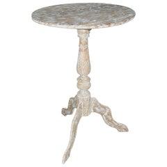 Petite Round Teak Pedestal Wine Table