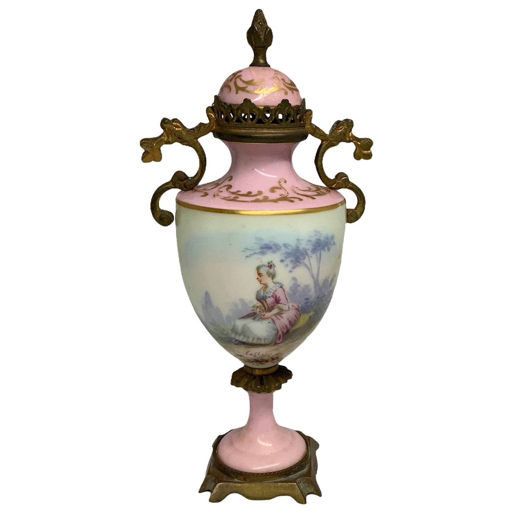 Petite Sevres Porcelain and Bronze Ormolu Mounted Urn Vase