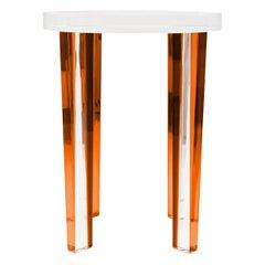 Petite Side Table in Orange Lucite