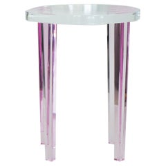 Petite Side Table in Pink Lucite
