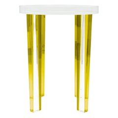 Petite Side Table in Yellow Lucite
