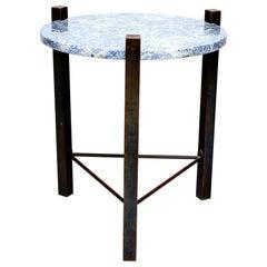 Petite Side Table Luscious Blue Granite & Bronze 1970s Modern Cedric Hartman Era