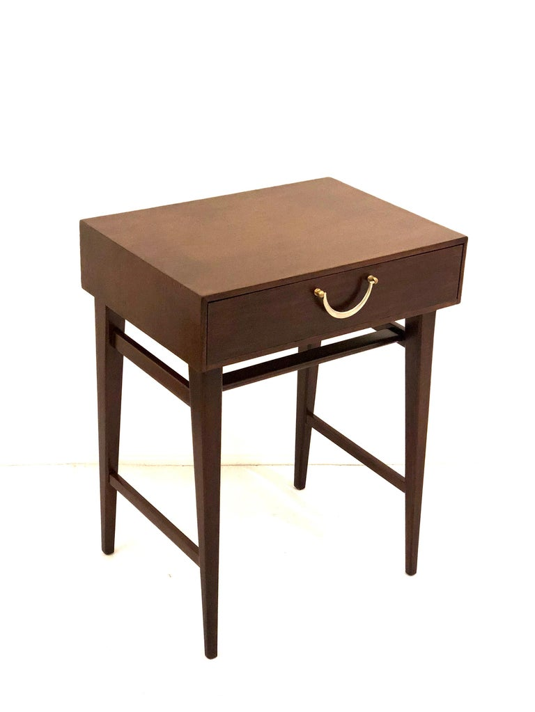 Petite mahogany end table designed by Alphons Loebenstein, for Meredew furniture, freshly refinished can be used as a nightstand or entry table.
