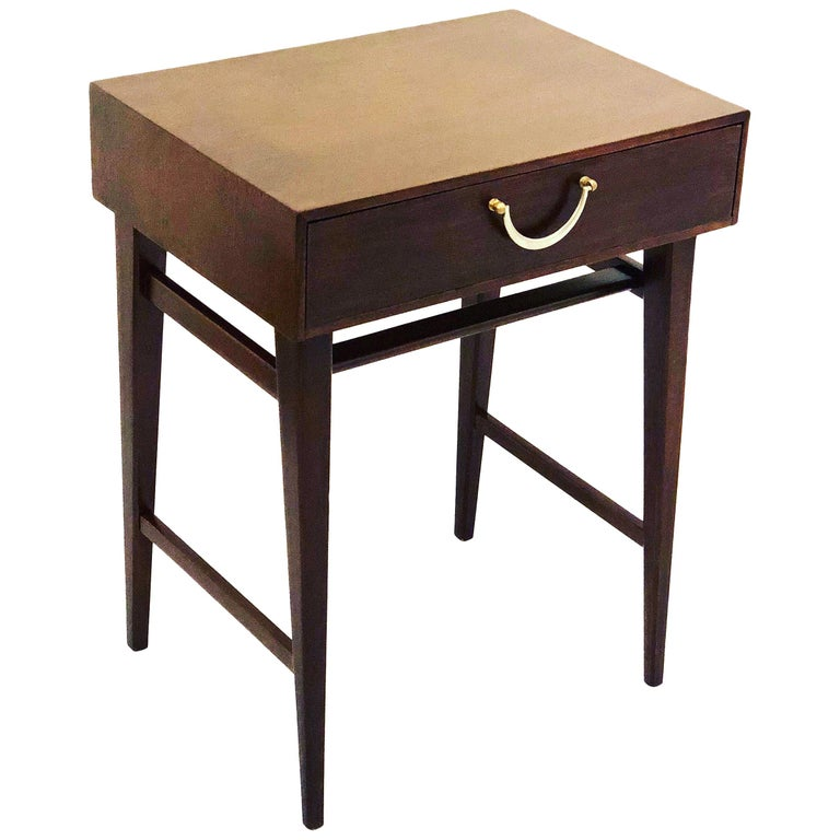 Petite Single Mahogany Neoclassical Modern End Table For Sale