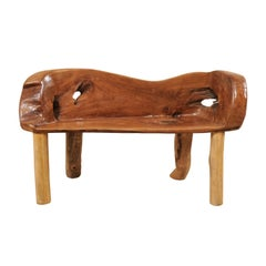 Petite Sized Natural Teak Wood Bench with Live Edge
