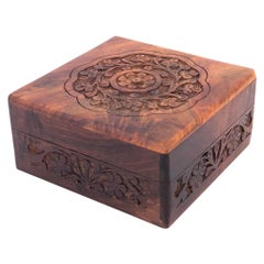 Petite Solid Rosewood Hand Carved Jewelry Box