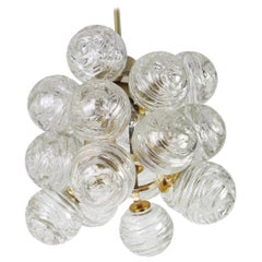Petite Spectacular Sputnik Flush Mount Glass Snow Balls by Doria, Germany, 1970s