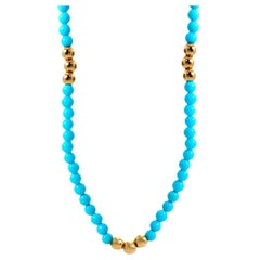 Petite Sphere Turquoise Bead Necklace, 20kt Yellow Gold
