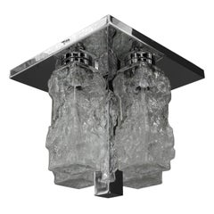 Petite Square Nickel-Plated Ice Glass Flush Mount by Hillebrand, Germany, 1970s