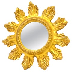 Petite Starburst Sunburst Gilded Wood and Composition Mirror, France