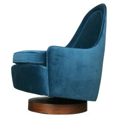 Petite Mid Century Modern Swivel and Tilt Lounge Chair by Milo Baughman