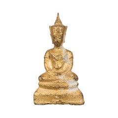 Petite Thai Bangkok Period Gilt Bronze Seated Dhyana Mudra Buddha Sculpture