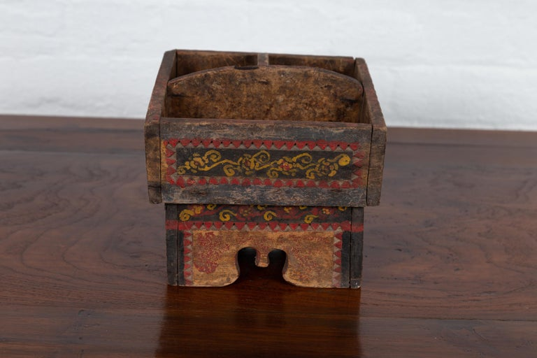 Petite Thai Rustic Betel Nut Box With Weathered Patina And Painted Dcor For Sale At -6089