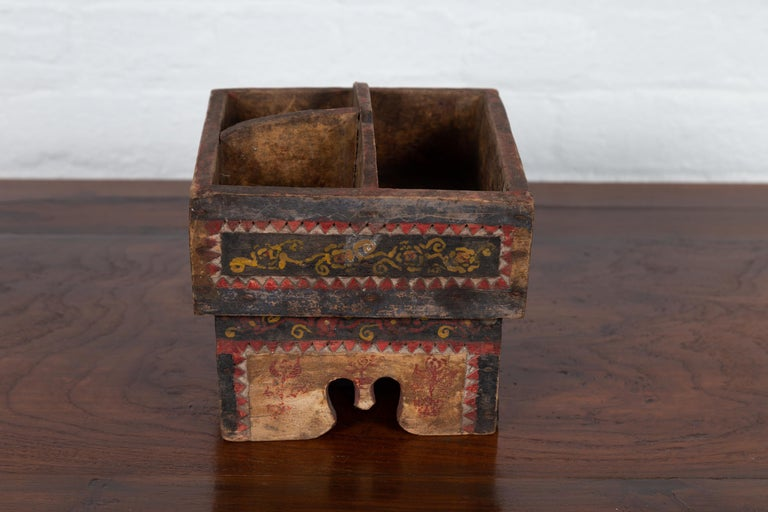Petite Thai Rustic Betel Nut Box With Weathered Patina And Painted Dcor For Sale At -1622