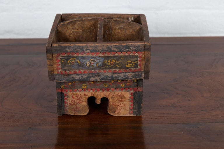 Petite Thai Rustic Betel Nut Box With Weathered Patina And Painted Dcor For Sale At -1625
