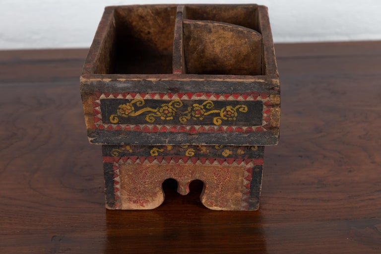 Petite Thai Rustic Betel Nut Box With Weathered Patina And Painted Dcor For Sale At -9166