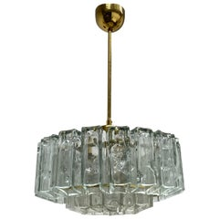 Petite Two-Tier Square Glass Tube Chandelier by Doria Leuchten, Germany, 1960s